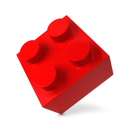 red cube: Toy brick. 3d illustration isolated on white background Stock Photo