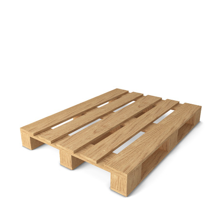 Wooden pallet. 3d illustration isolated on white background
