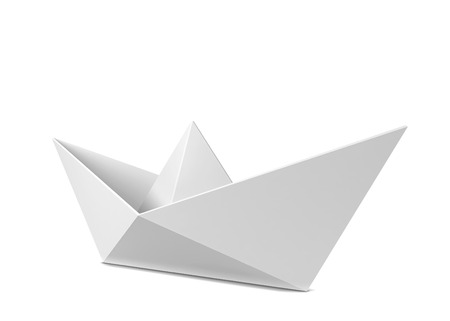 concept and ideas: Paper boat. 3d illustration isolated on white background