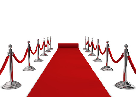 red carpet event: Red carpet. 3d illustration isolated on white background Stock Photo