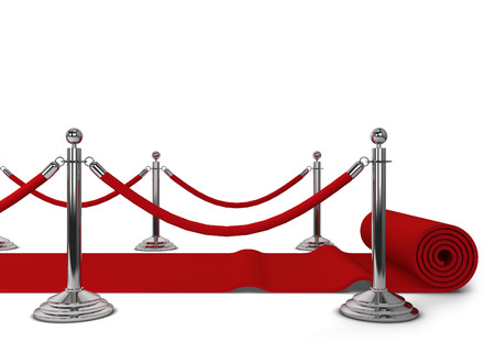 stanchion: Red carpet. 3d illustration isolated on white background Stock Photo