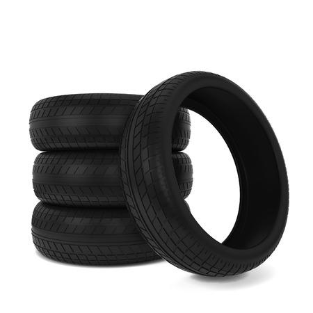 Black tires. 3d illustration isolated on white background
