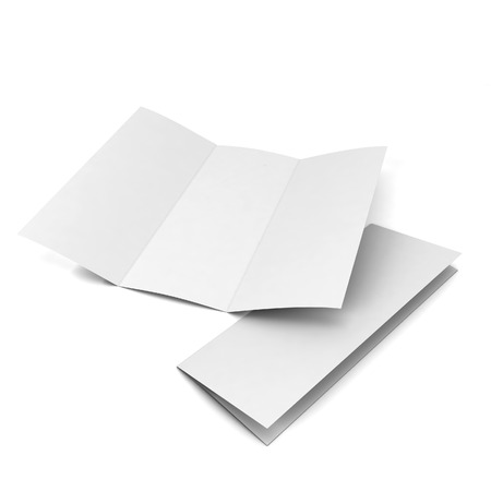 fold: Blank brochure. 3d illustration isolated on white background Stock Photo