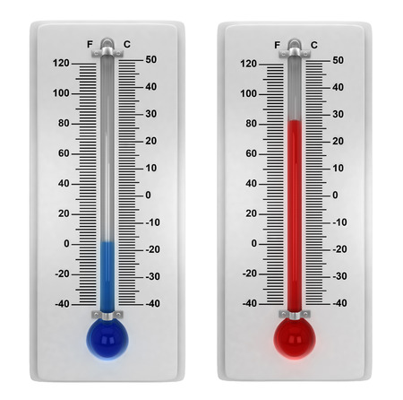 Weather thermometers. 3d illustration isolated on white background