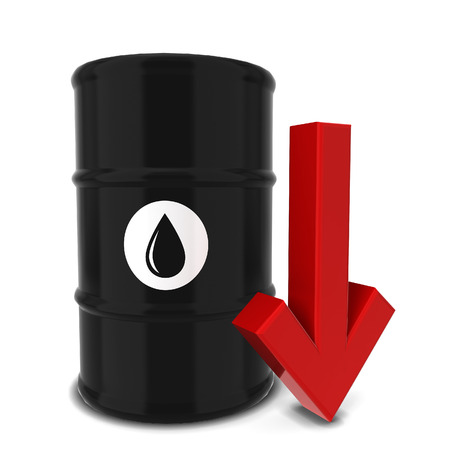 poison arrow: Oil barrel with red arrow. 3d illustration isolated on white background