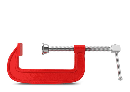 c clamp: C clamp. 3d illustration isolated on white background