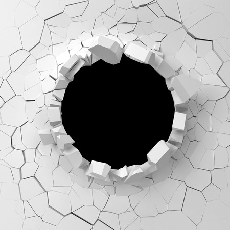 cracked wall: Wall destruction. 3d illustration isolated on white background Stock Photo