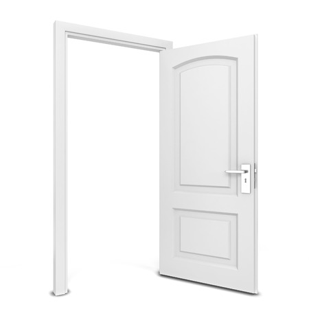 Opened door. 3d illustration isolated on white background