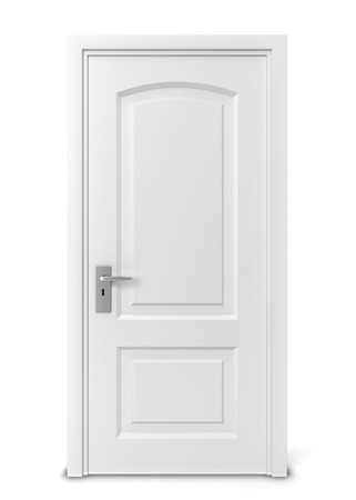 empty keyhole: Closed door. 3d illustration isolated on white background