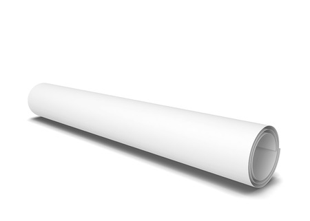 scroll work: Paper scroll. 3d illustration isolated on white background Stock Photo