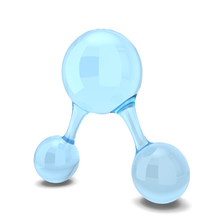Water molecule. 3d illustration isolated on white background