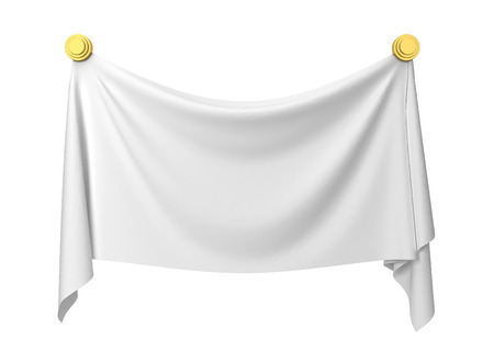 Cloth banner. 3d illustration isolated on white background Stockfoto