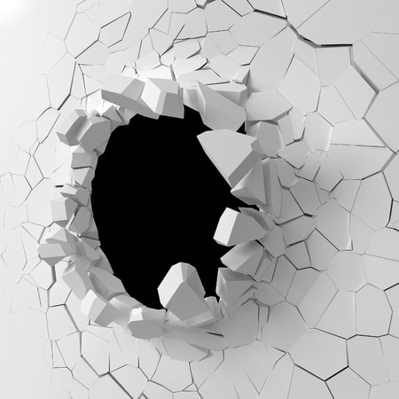 Wall destruction. 3d illustration isolated on white background 스톡 콘텐츠