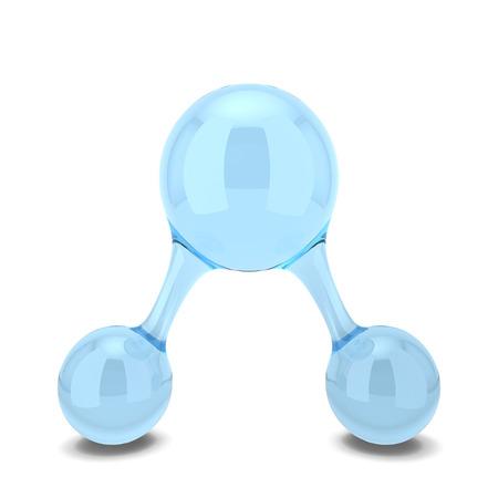 molecula de agua: Molécula de agua. 3d ilustración aisladas sobre fondo blanco Foto de archivo
