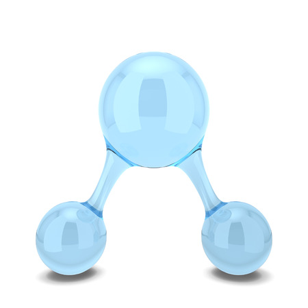 molecula de agua: Mol�cula de agua. 3d ilustraci�n aisladas sobre fondo blanco Foto de archivo