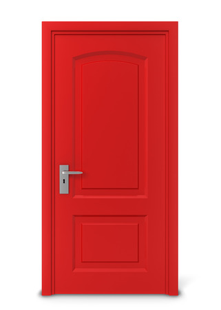 door key: Closed door. 3d illustration isolated on white background