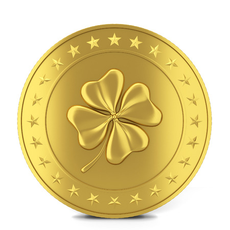 Coin with clover. 3d illustration isolated on white background