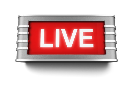 live on air: Live sign. 3d illustration isolated on white background