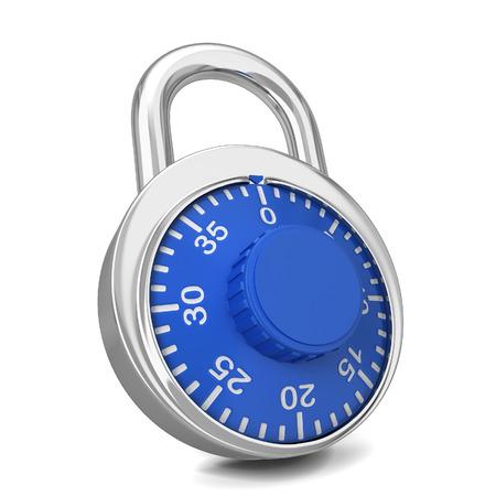 key pad: Steel lock. 3d illustration isolated on white background