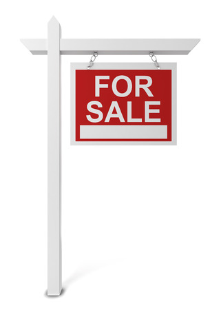 selling house: House for sale sign. 3d illustration isolated on white background Stock Photo