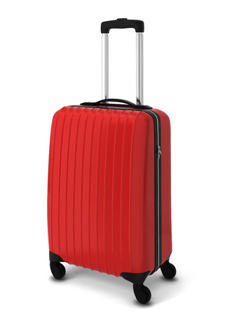 Red suitcase. 3d illustration isolated on white background Foto de archivo