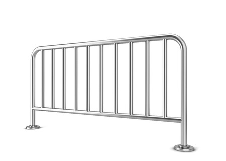 exhibition crowd: Metal barrier. 3d illustration isolated on white background