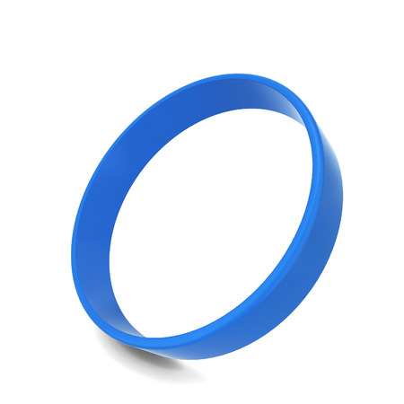 blue circle: Rubber bracelet. 3d illustration isolated on white background Stock Photo