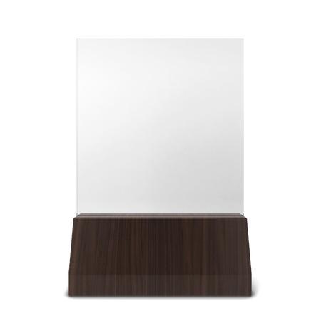 Plastic plate in wooden holder. 3d illustration isolated on white background illustration