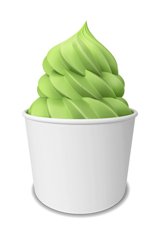 frozen joghurt: Frozen yogurt. 3d illustration isolated on white background
