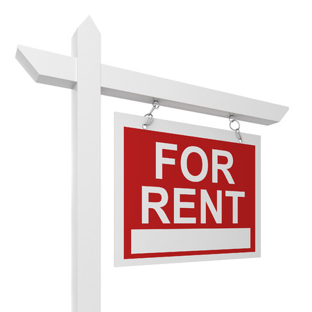 for rent: House for rent sign. 3d illustration isolated on white background