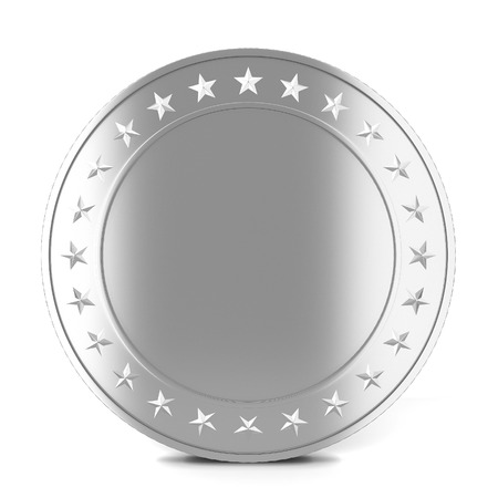 silver coins: Silver coin. 3d illustration isolated on white background