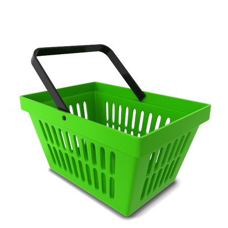 mart: Shopping basket. 3d illustration isolated on white background Stock Photo