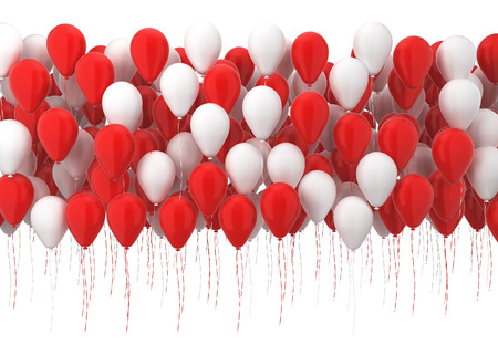 anniversary: Many balloons. 3d illustration isolated on white background