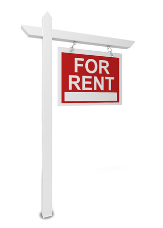 home value: House for rent sign. 3d illustration isolated on white background