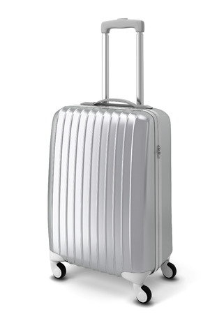 Silver suitcase. 3d illustration isolated on white background