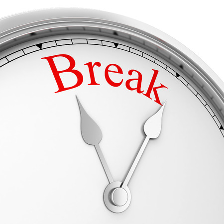 break up: Time for a break. 3d illustration isolated on white background Stock Photo