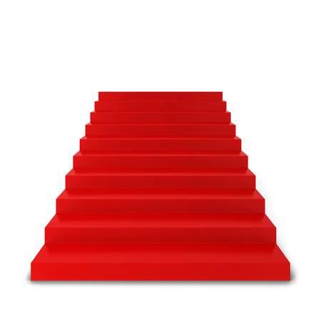 ladder of success: Red stairs. 3d illustration isolated on white background Stock Photo