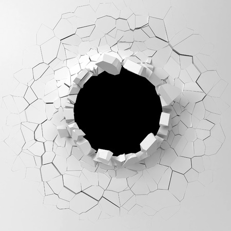Wall destruction. 3d illustration isolated on white background Archivio Fotografico