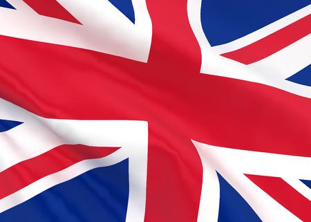 british flag: British flag. 3d illustration isolated on white background