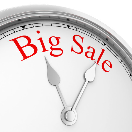 big timer: Time for big sale. 3d illustration isolated on white background