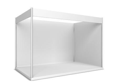 전시회 부스. 흰색 배경에 고립 된 3D 그림