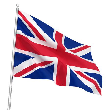 Britse vlag. 3D-afbeelding op een witte achtergrond Stockfoto