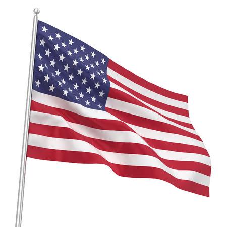 red wave: Flag USA. 3d illustration isolated on white background