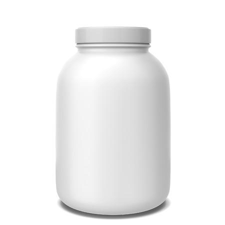 Sport supplement jar. 3D-afbeelding op een witte achtergrond