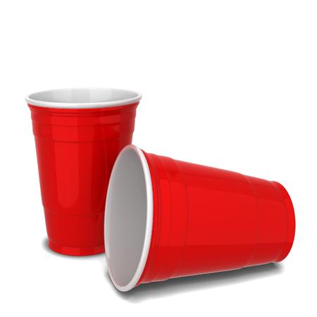 赤いプラスチック カップ。白い背景で隔離の 3 d 図
