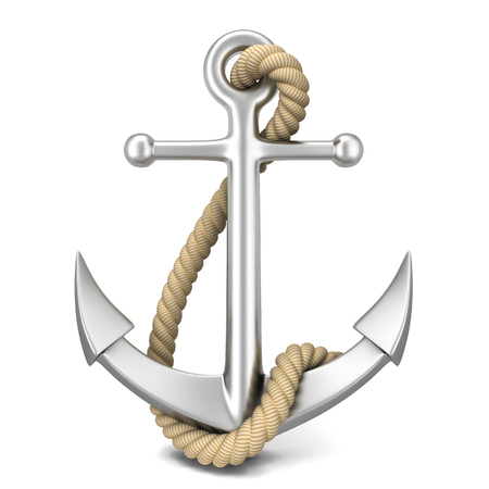 Steel anchor. 3d illustration isolated on white background