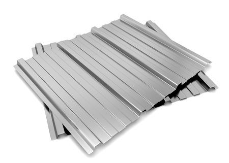 Corrugated metal sheet. 3d illustration isolated on white background