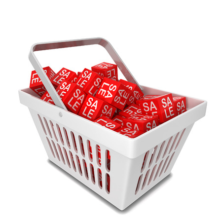 white boxes: Shopping basket with sale discount boxes. 3d illustration isolated on white background