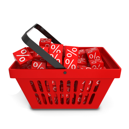 the basket: Shopping basket with sale discount boxes. 3d illustration isolated on white background
