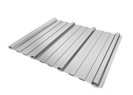 metal sheet: Corrugated metal sheet. 3d illustration isolated on white background